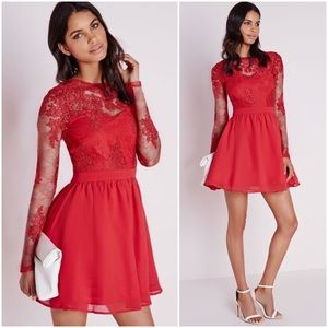 """Premium Lace Long Sleeve Skater Dress"""